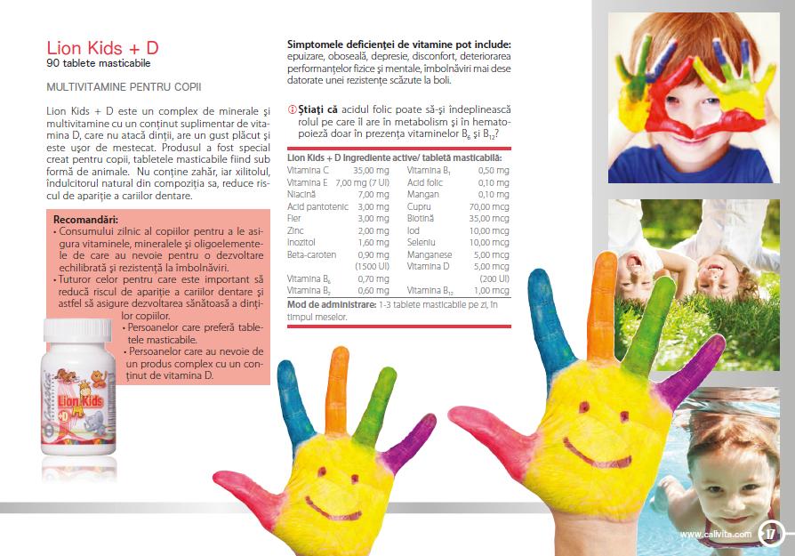 48038612 Lion Kids +D Calivita - multivitamine pentru copii, prospect, pret.