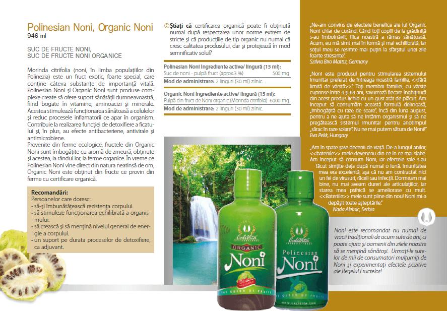 prospect noni organic calivita, ingrediente si indicatii
