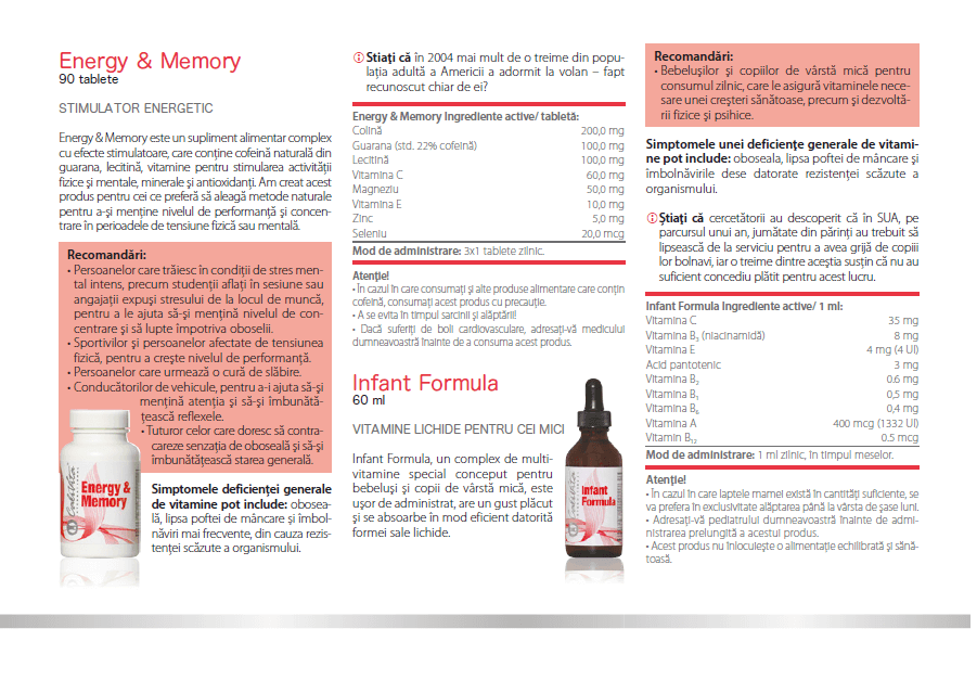 prospect energy memory calivita, ingrediente, indicatii