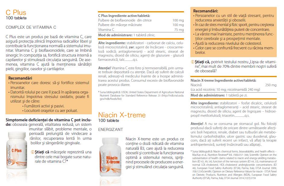 prospect niacin x-treme calivita, indicatii, ingrediente