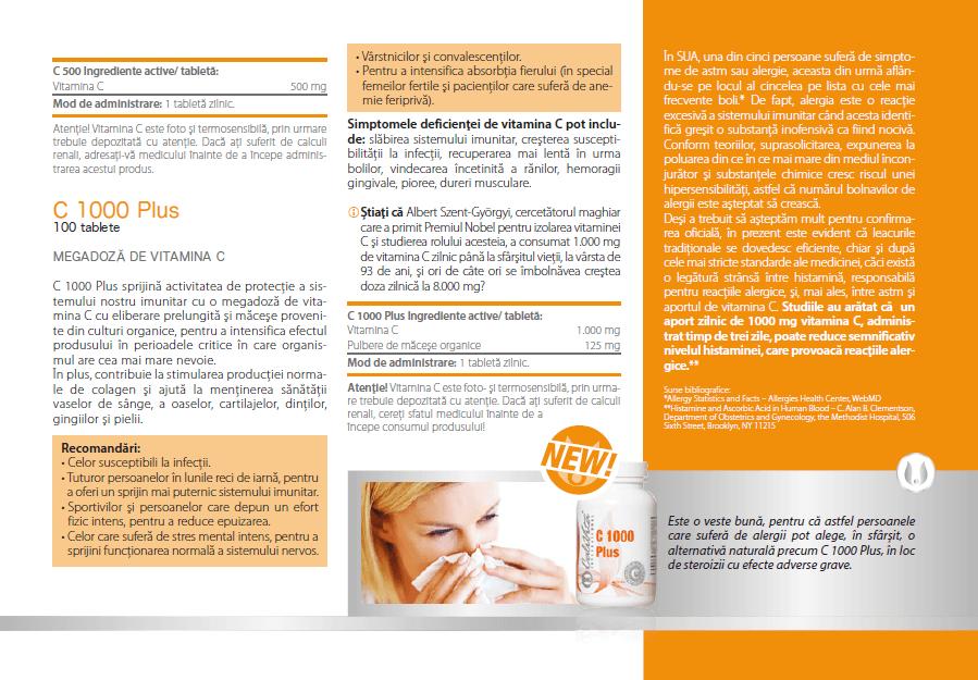prospect vitamina c 1000 mg plus calivita, ingrediente, indicatii